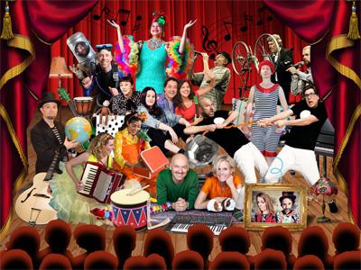 Collage med många artister i färgglade kläder och med musikinstrument på en scen med röda ridåer och röd backdrop.
