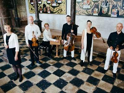 sex musiker med instrument